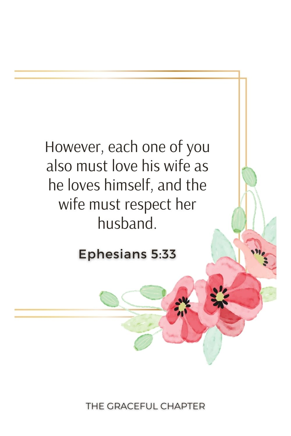 However, each one of you also must love his wife as he loves himself, and the wife must respect her husband. Ephesians 5:33