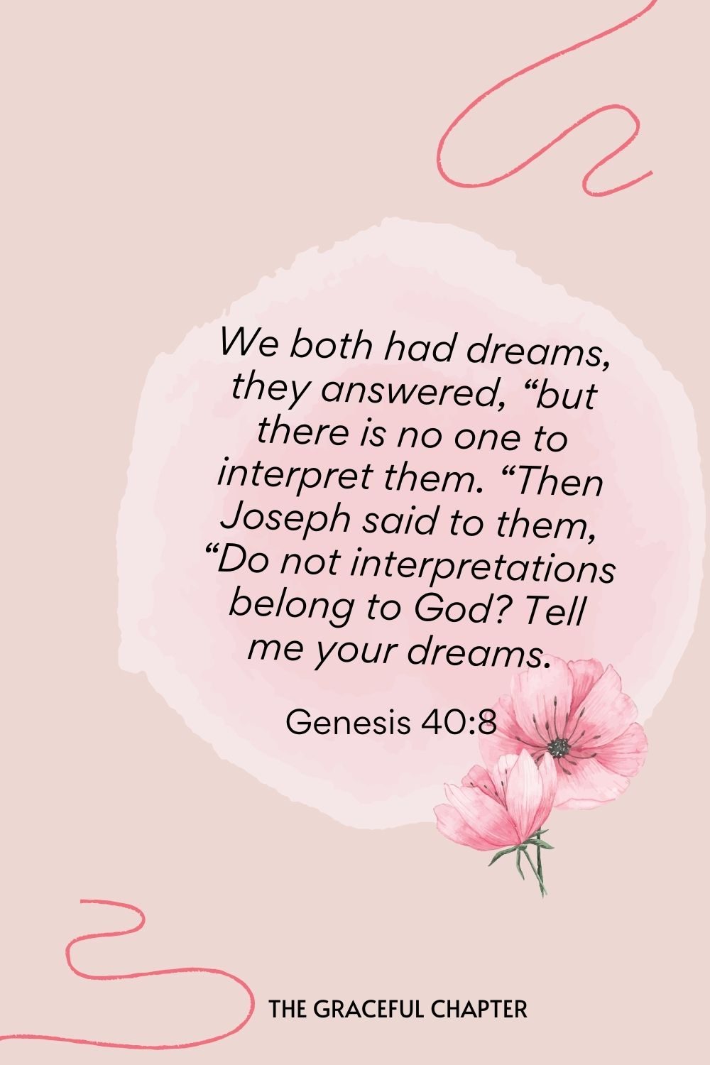 """We both had dreams, they answered, """"but there is no one to interpret them. """"Then Joseph said to them, """"Do not interpretations belong to God? Tell me your dreams.  Genesis 40:8"""