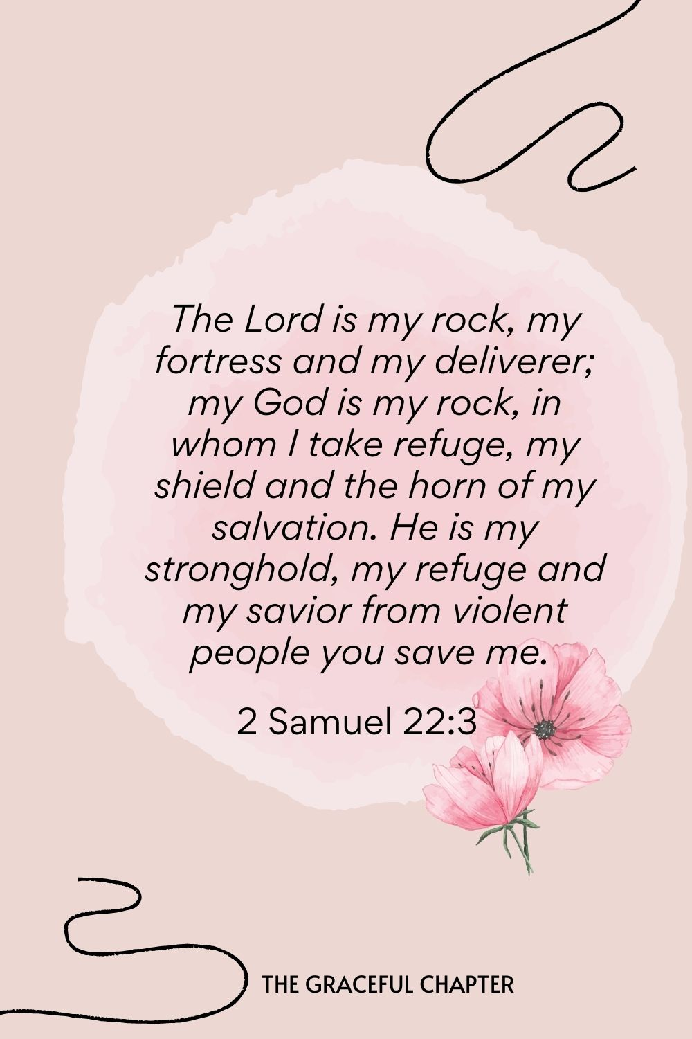 The Lord is my rock, my fortress, and my deliverer; my God is my rock, in whom I take refuge, my shield and the horn of my salvation. He is my stronghold, my refuge, and my savior from violent people you save me.  2 Samuel 22:3