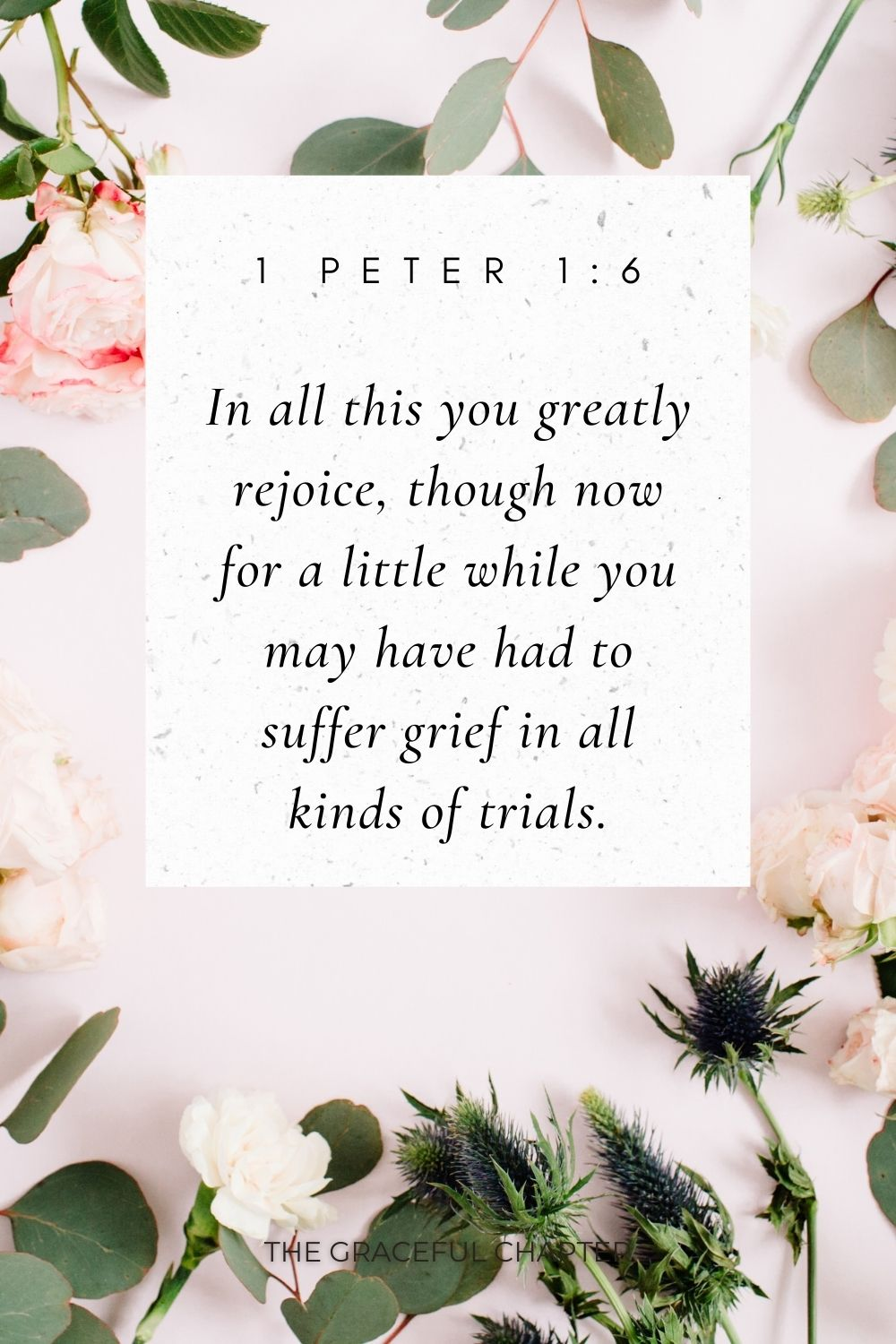 In all this you greatly rejoice, though now for a little while you may have had to suffer grief in all kinds of trials. 1 Peter 1:6