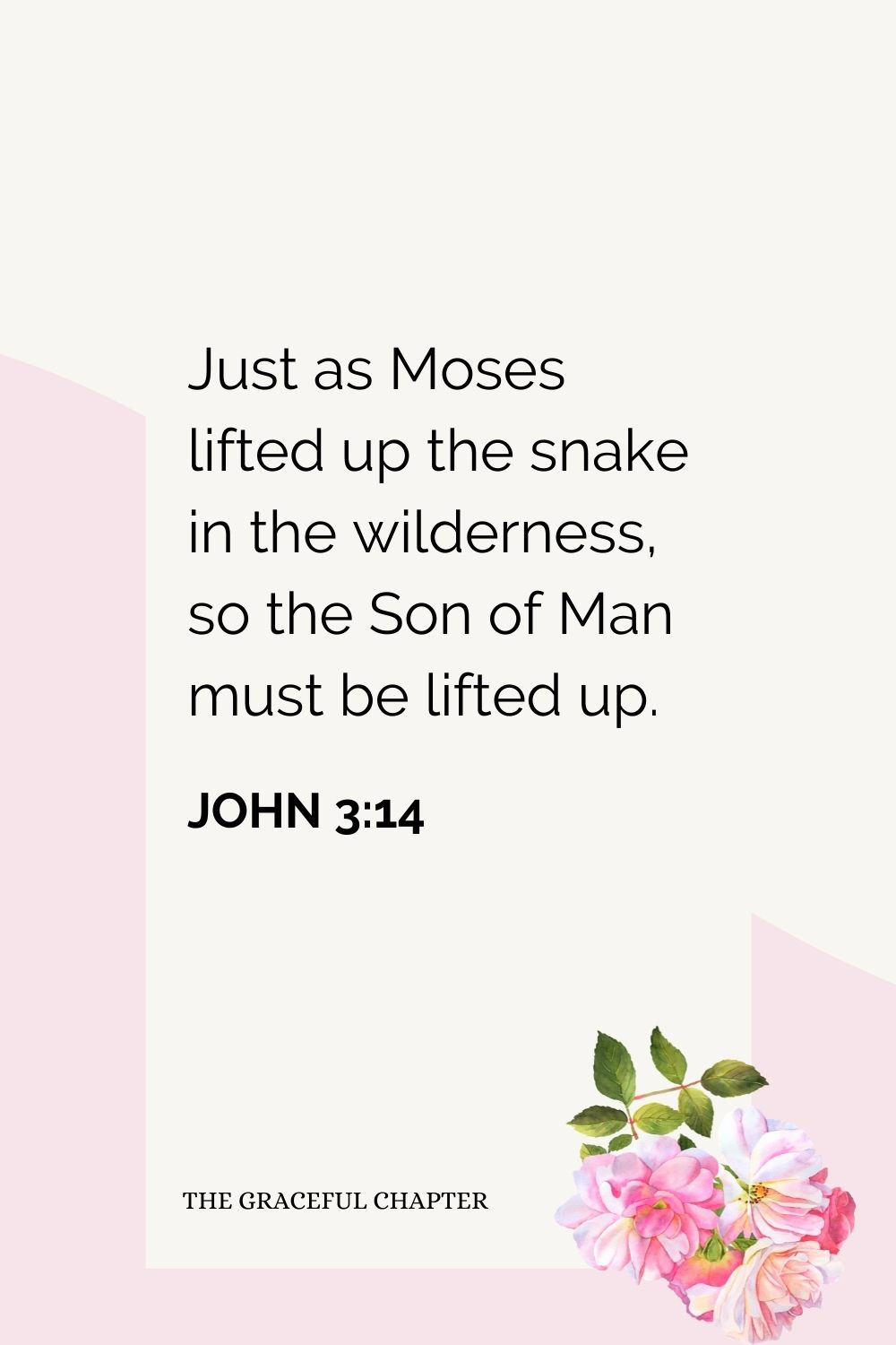 Just as Moses lifted up the snake in the wilderness, so the Son of Man must be lifted up.  John 3:14