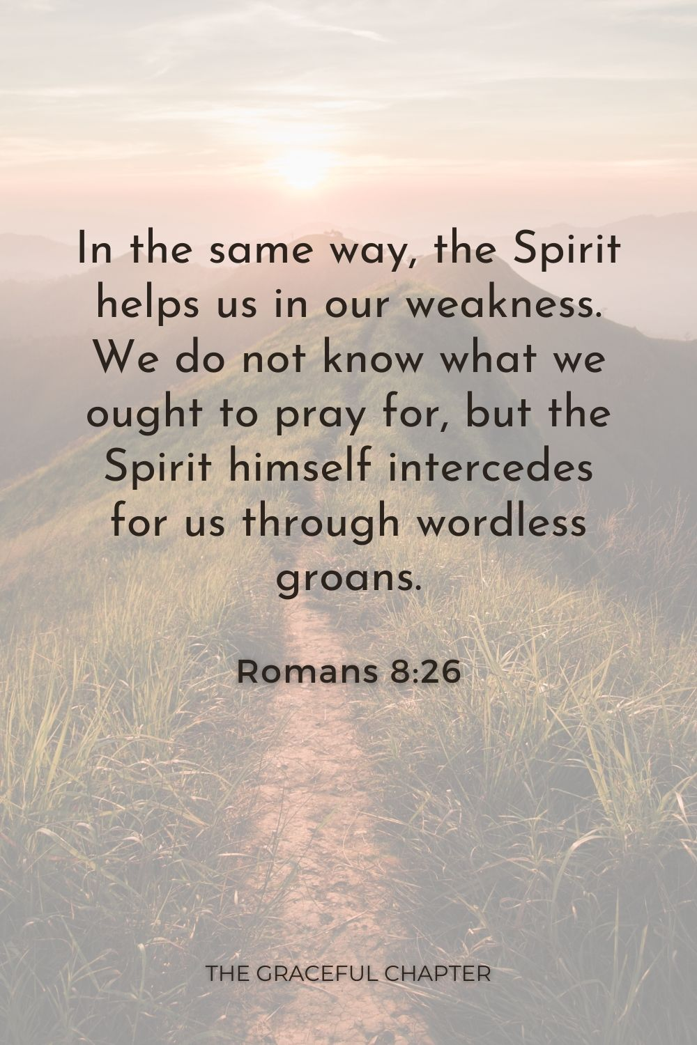 In the same way, the Spirit helps us in our weakness. We do not know what we ought to pray for, but the Spirit himself intercedes for us through wordless groans. Romans 8:26
