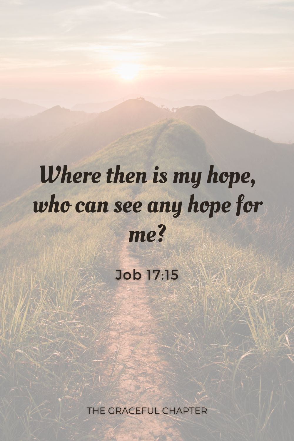 Where then is my hope, who can see any hope for me? Job 17:15
