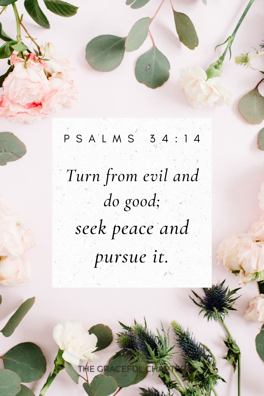 Turn from evil and do good; seek peace and pursue it. Psalms 34:14