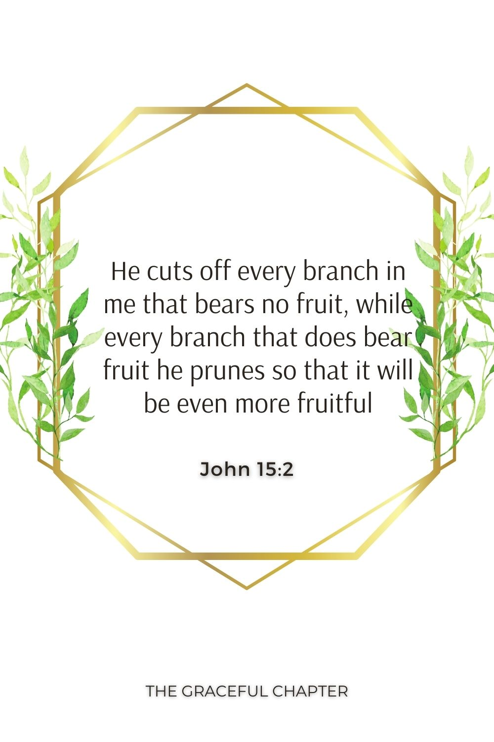 He cuts off every branch in me that bears no fruit, while every branch that does bear fruit he prunes so that it will be even more fruitful. John 15:2