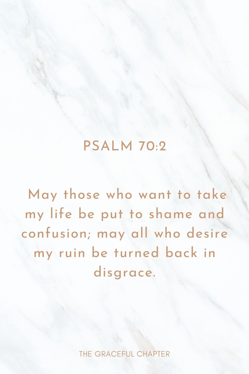 May those who want to take my life be put to shame and confusion; may all who desire my ruin be turned back in disgrace. Psalm 70:2