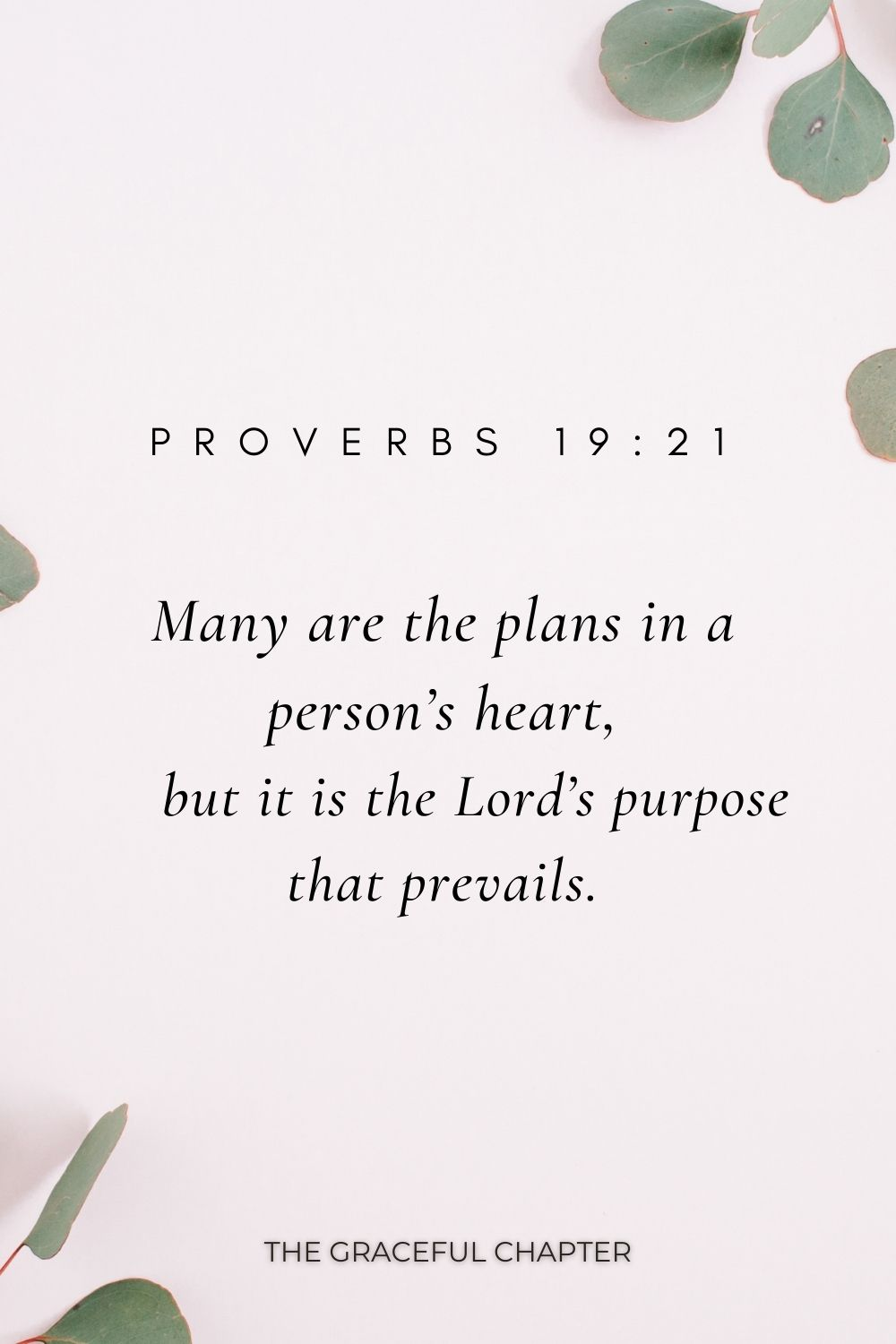Many are the plans in a person's heart,     but it is the Lord's purpose that prevails. Proverbs 19:21