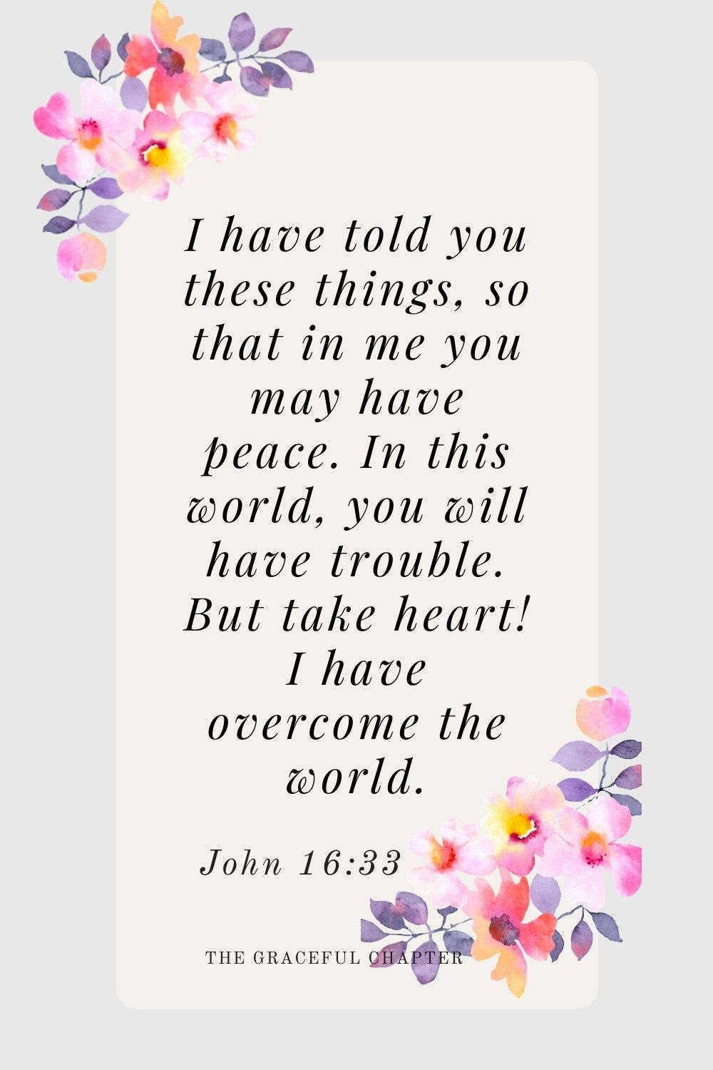 I have told you these things, so that in me you may have peace. In this world you will have trouble. But take heart! I have overcome the world. John 16:33