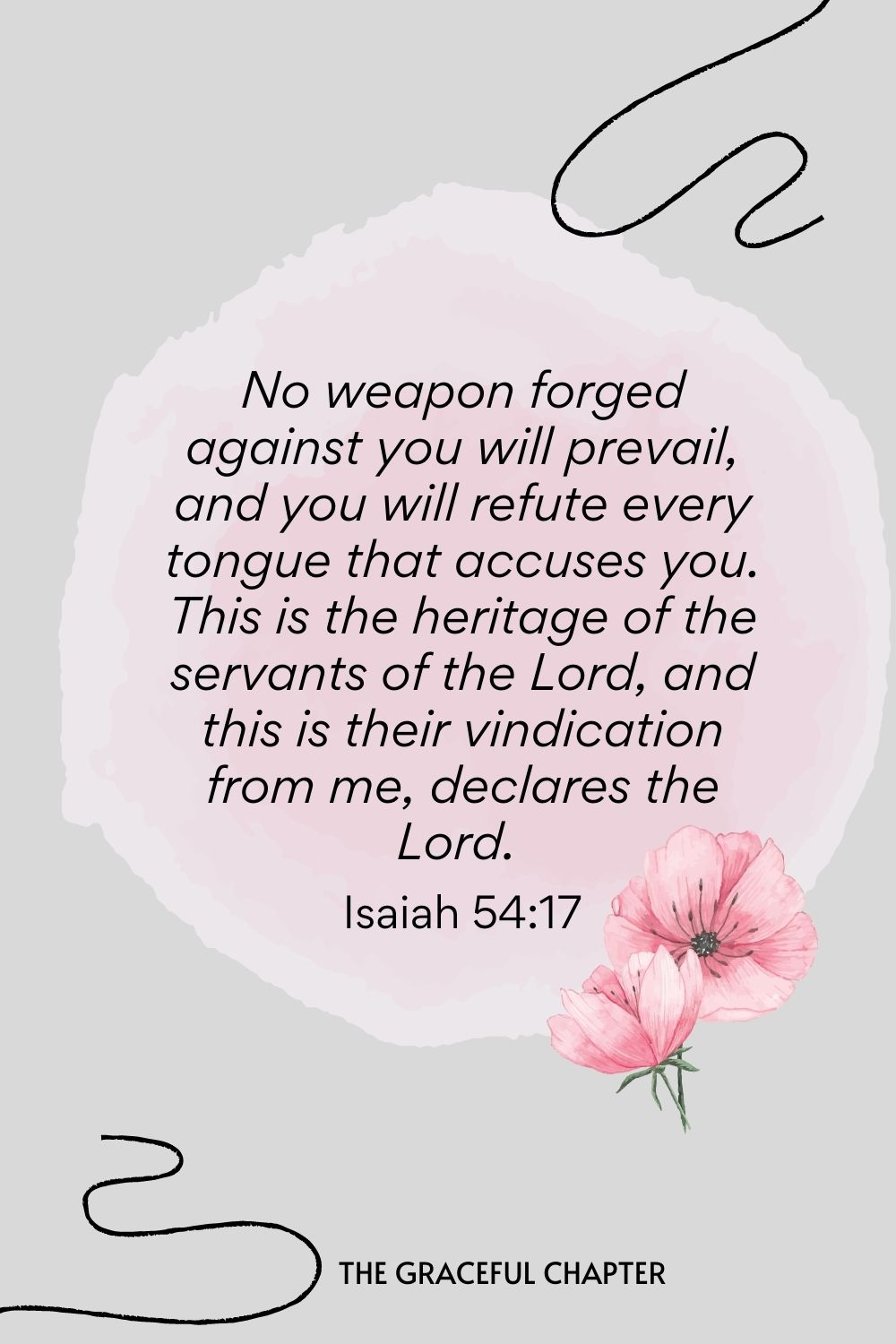 Bible verses to pray against bad dreams - No weapon forged against you will prevail, and you will refute every tongue that accuses you. This is the heritage of the servants of the Lord, and this is their vindication from me, declares the Lord.  Isaiah 54:17