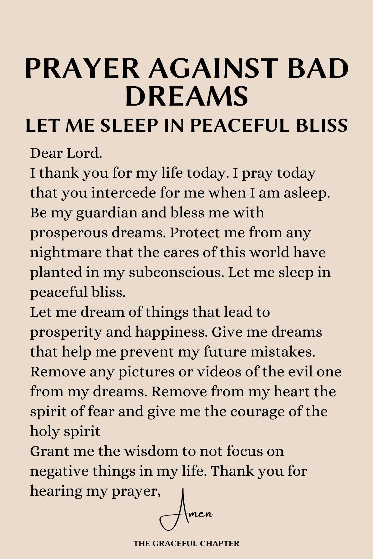 Prayers against bad dreams
