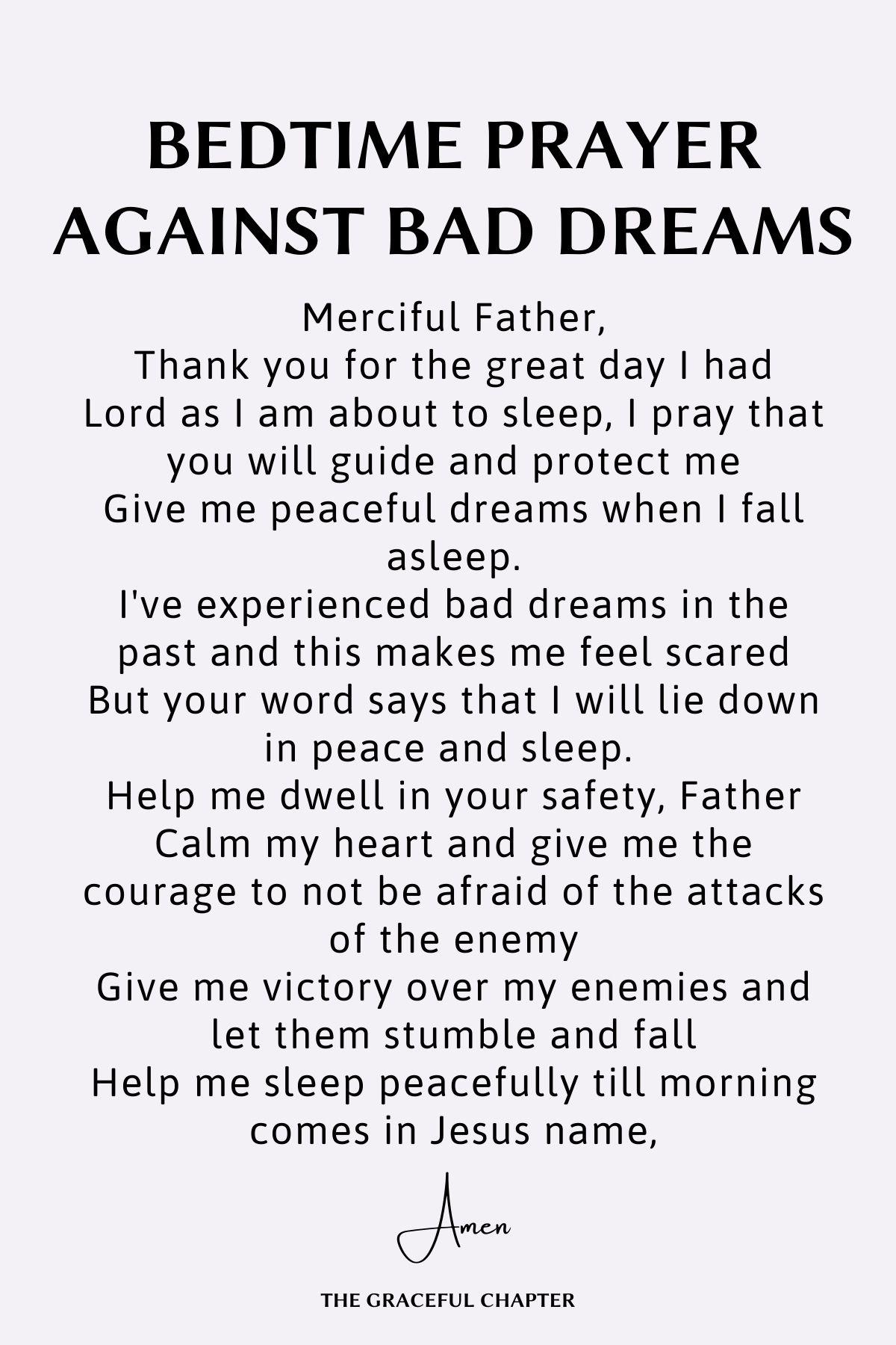 Bedtime prayer against bad dreams