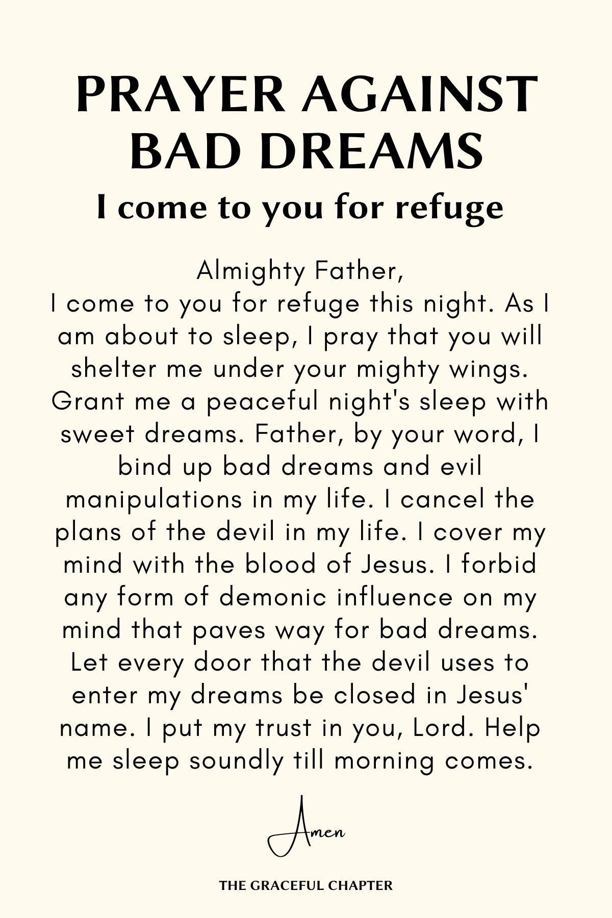 I come to you for refuge