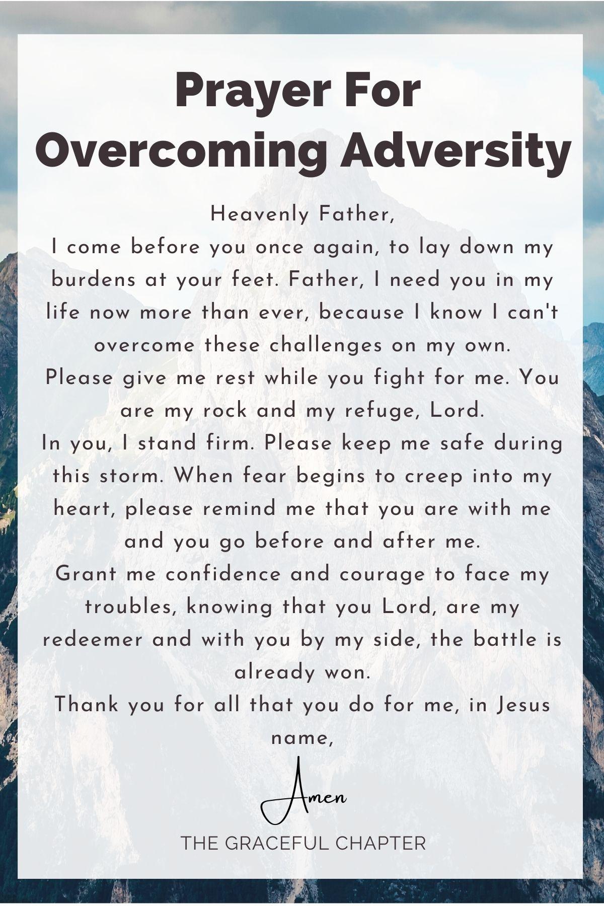prayer for overcoming adversity