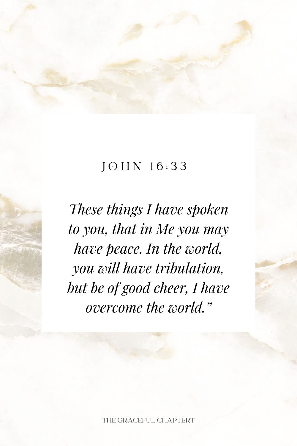 """These things I have spoken to you, that in Me you may have peace. In the world, you will have tribulation, but be of good cheer, I have overcome the world."""" John 16:33"""