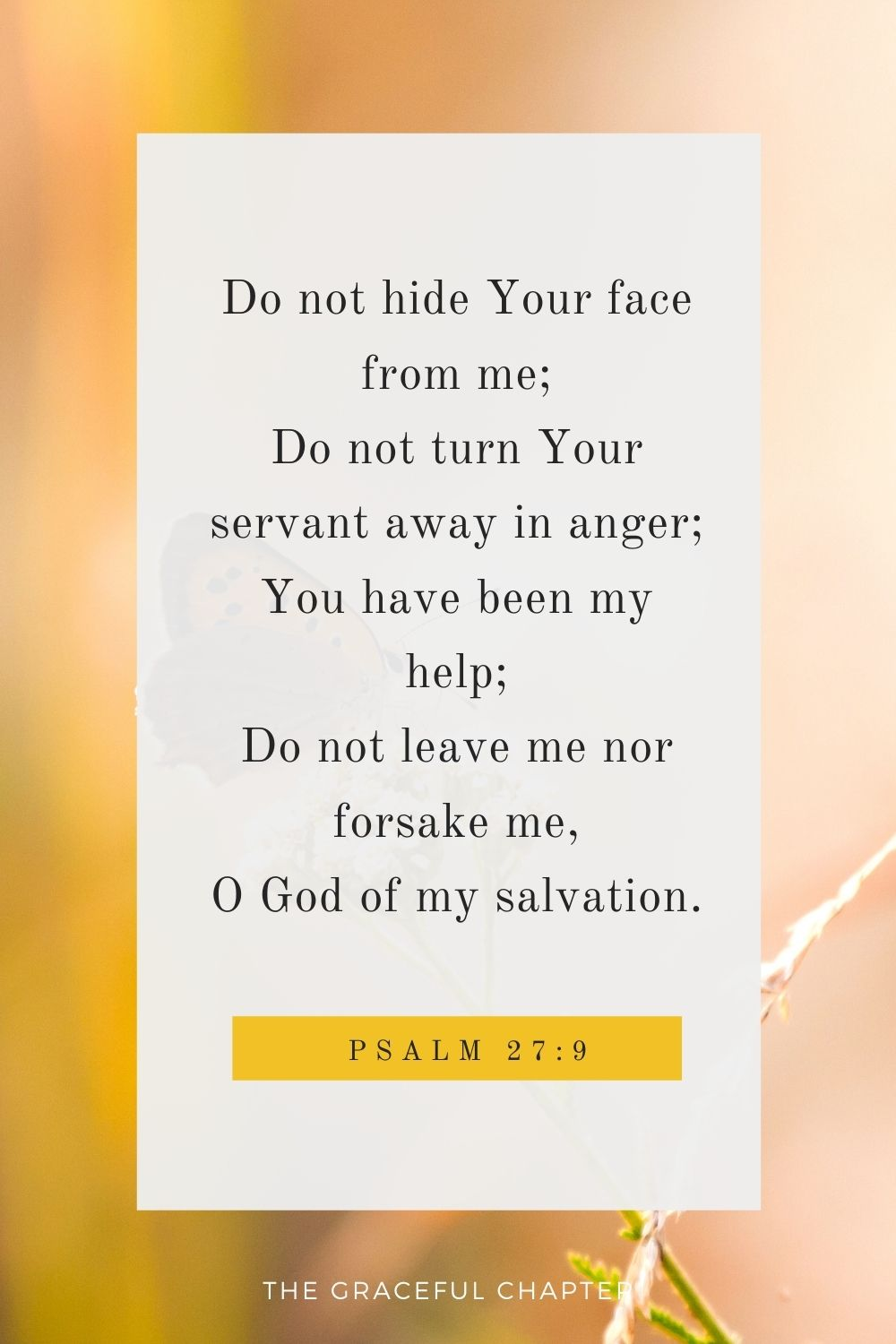 Do not hide Your face from me; Do not turn Your servant away in anger; You have been my help; Do not leave me nor forsake me, O God of my salvation. Psalm 27:9