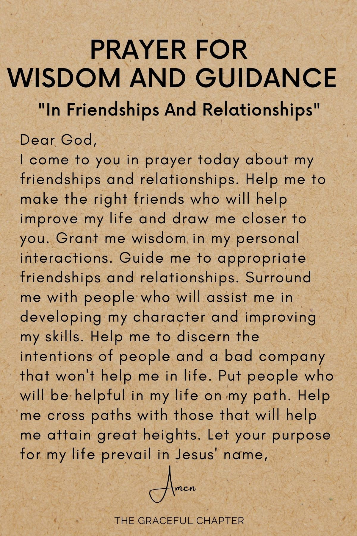 Wisdom and guidance in friendships and relationships
