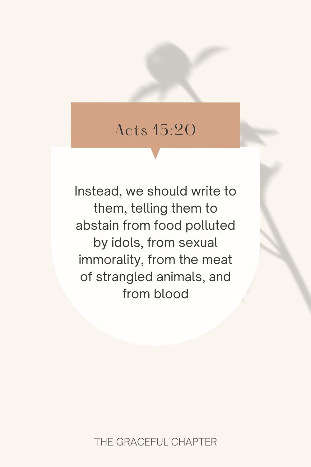 Instead, we should write to them, telling them to abstain from food polluted by idols, from sexual immorality, from the meat of strangled animals, and from blood.  Acts 15:20