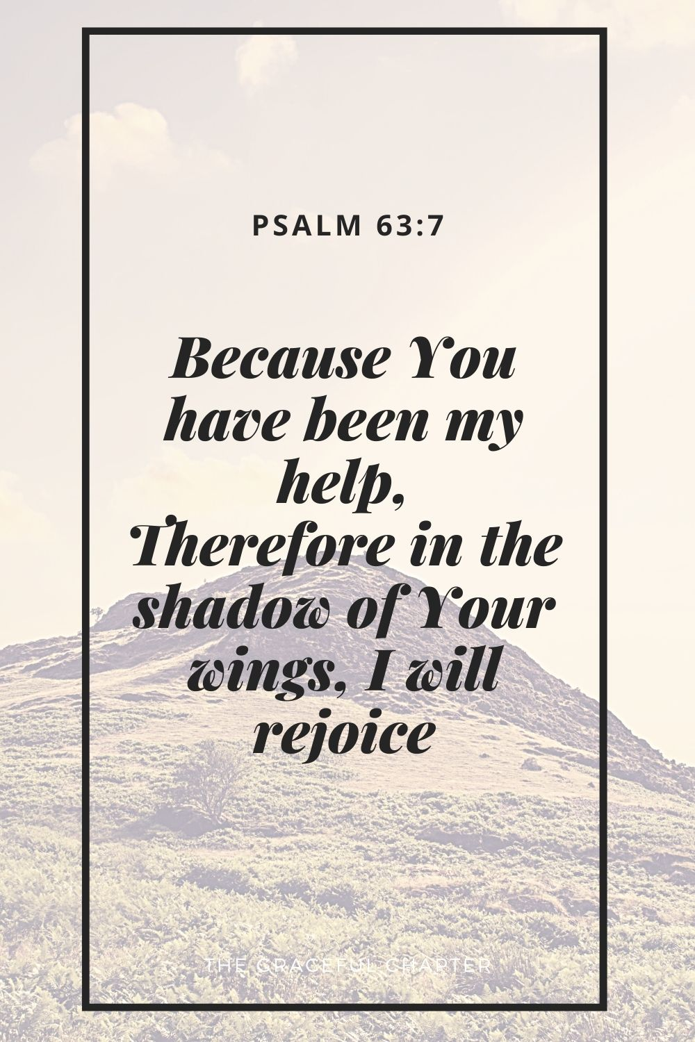 Because You have been my help, Therefore in the shadow of Your wings, I will rejoice. Psalm 63:7