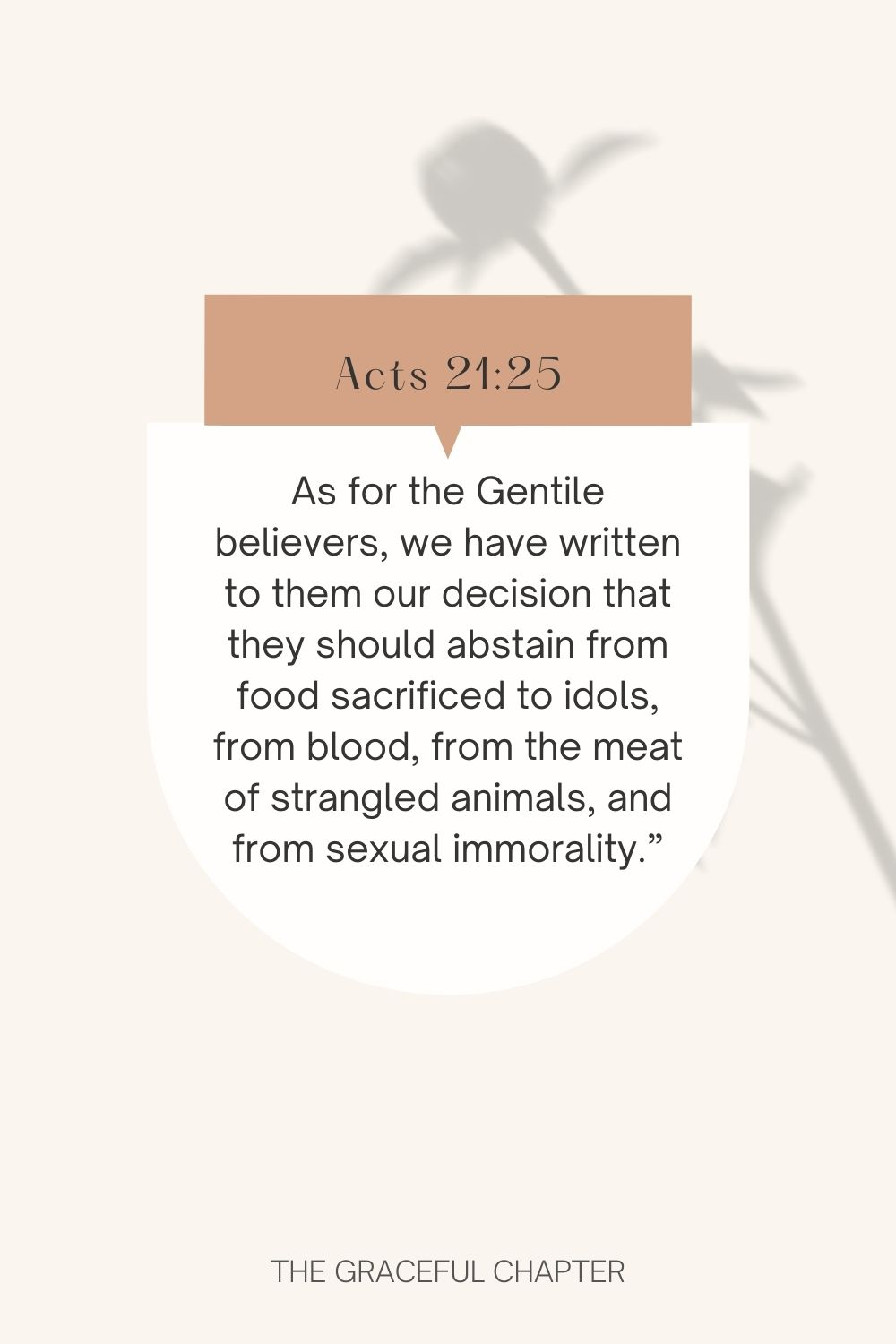 """As for the Gentile believers, we have written to them our decision that they should abstain from food sacrificed to idols, from blood, from the meat of strangled animals, and from sexual immorality."""" Acts 21:25"""