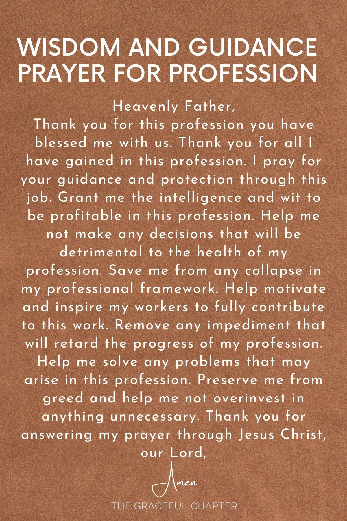 Wisdom and guidance for Profession