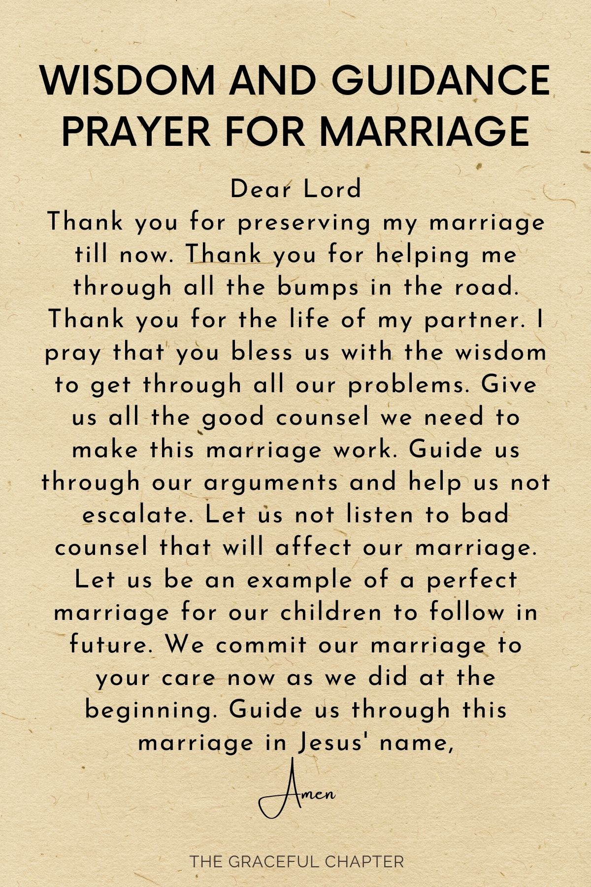 Wisdom and guidance for marriage