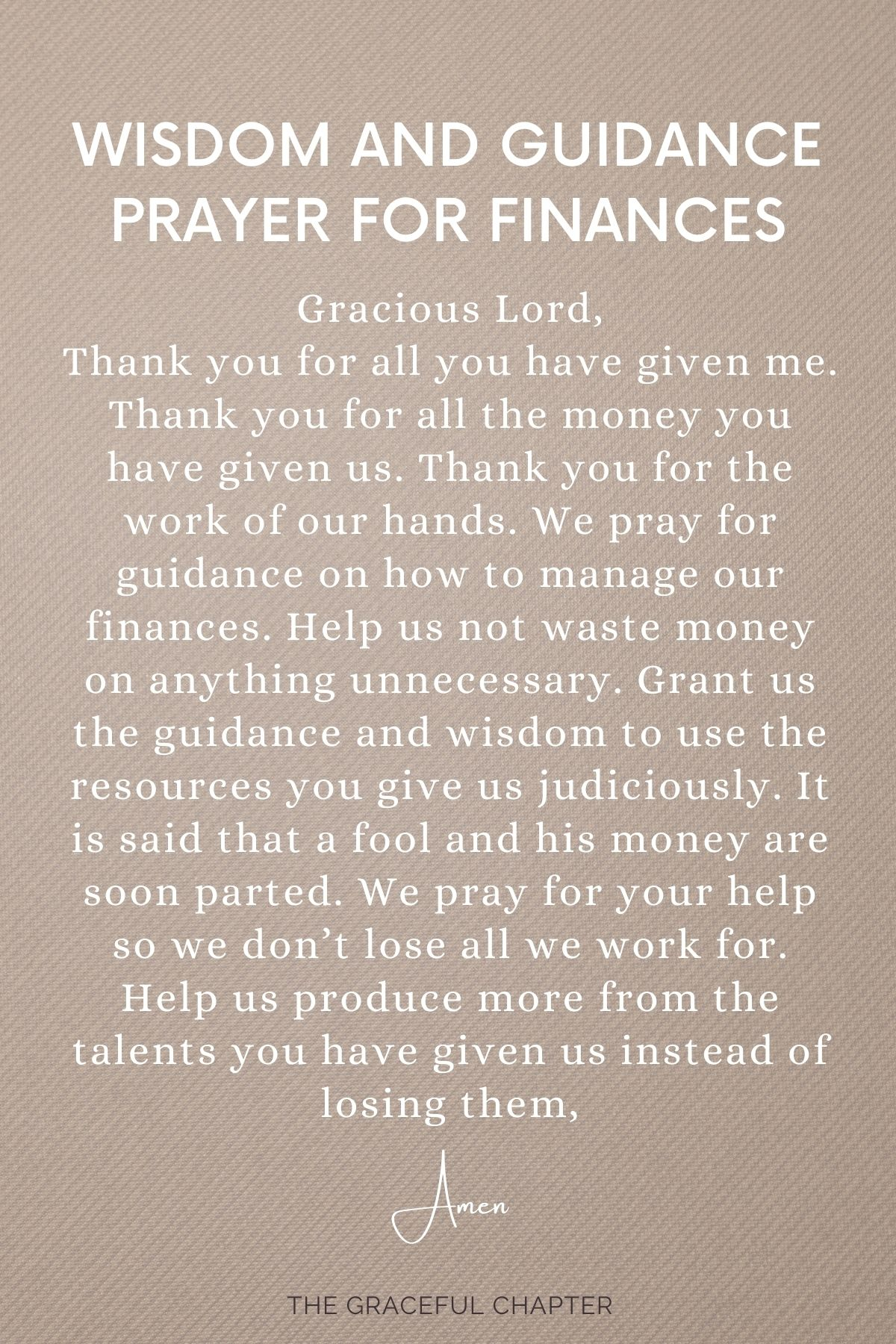 Wisdom and guidance for finances