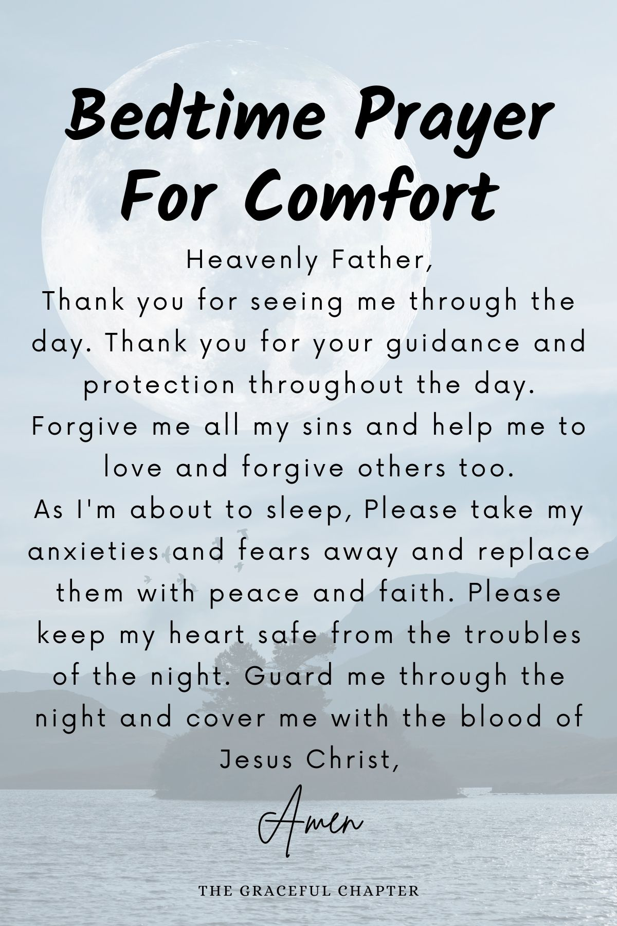 Bedtime prayer for comfort and peace