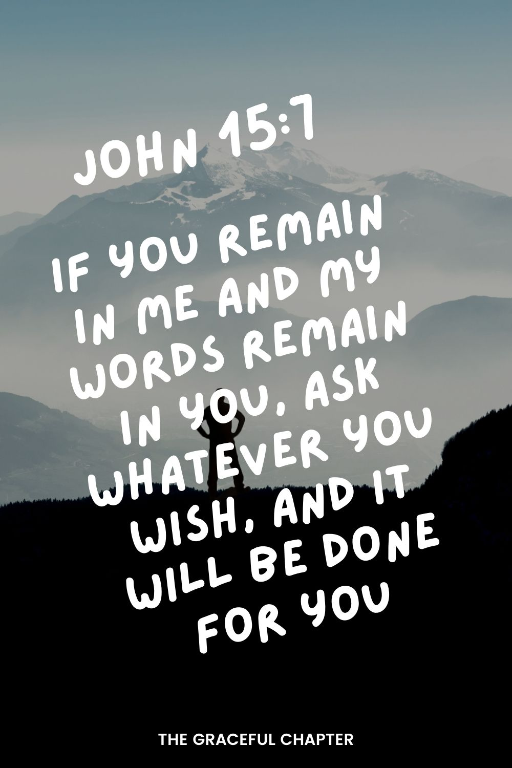 If you remain in me and my words remain in you, ask whatever you wish, and it will be done for you. John 15:7