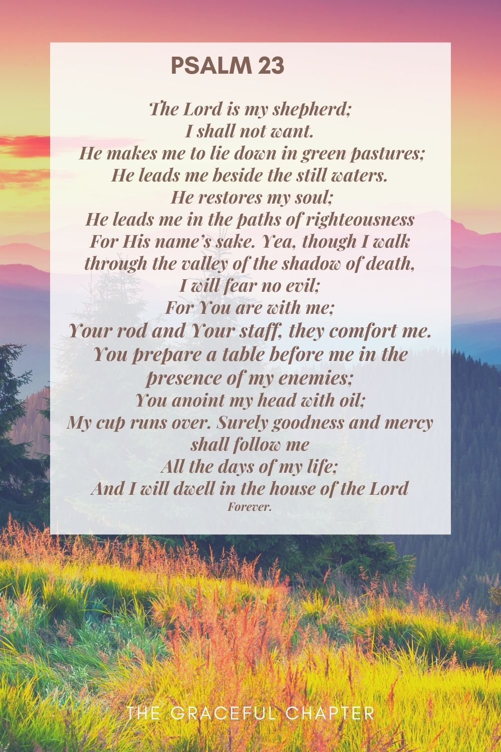 The Lord is my shepherd; I shall not want.  He makes me to lie down in green pastures; He leads me beside the still waters.  He restores my soul; He leads me in the paths of righteousness For His name's sake. Yea, though I walk through the valley of the shadow of death, I will fear no evil; For You are with me; Your rod and Your staff, they comfort me. You prepare a table before me in the presence of my enemies; You anoint my head with oil; My cup runs over. Surely goodness and mercy shall follow me All the days of my life; And I will dwell in the house of the Lord Forever. Psalm 23