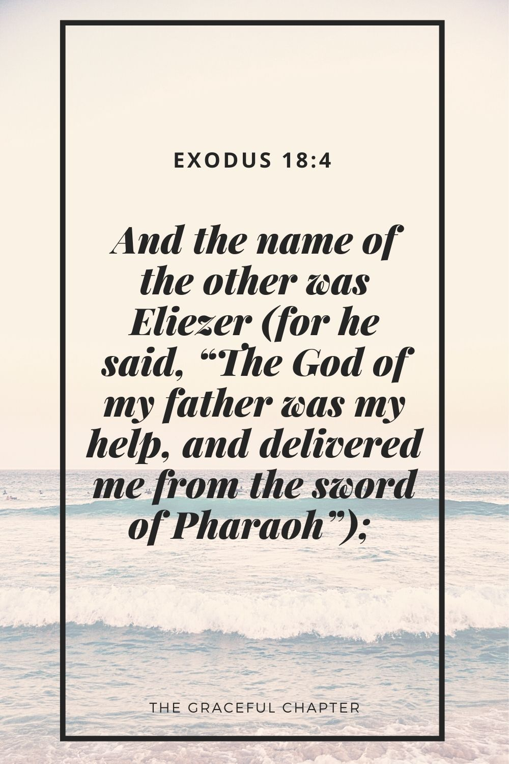 """And the name of the other was Eliezer (for he said, """"The God of my father was my help, and delivered me from the sword of Pharaoh"""");  Exodus 18:4"""