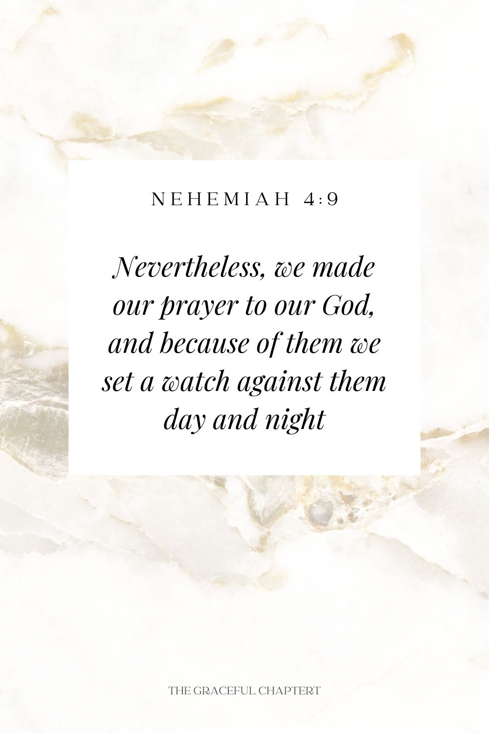 Nevertheless, we made our prayer to our God, and because of them we set a watch against them day and night Nevertheless, we made our prayer to our God, and because of them we set a watch against them day and night Nehemiah 4:9