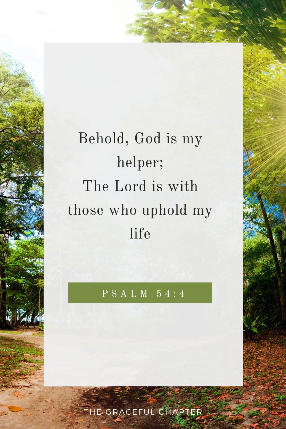Behold, God is my helper; The Lord is with those who uphold my life.  Psalm 54:4