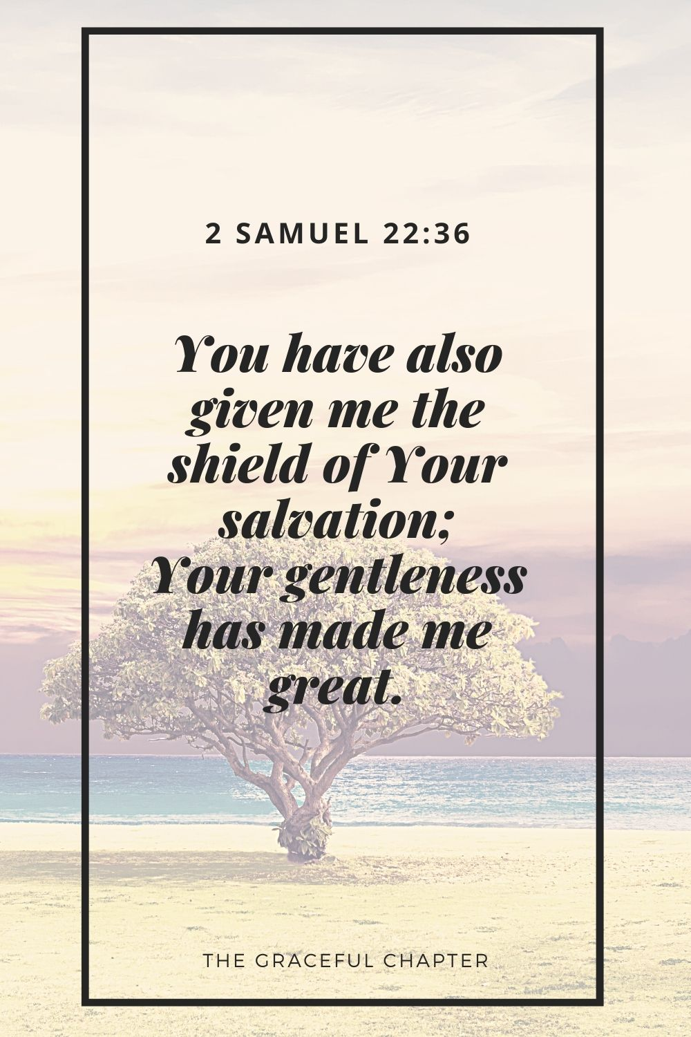 You have also given me the shield of Your salvation; Your gentleness has made me great. 2 Samuel 22:36
