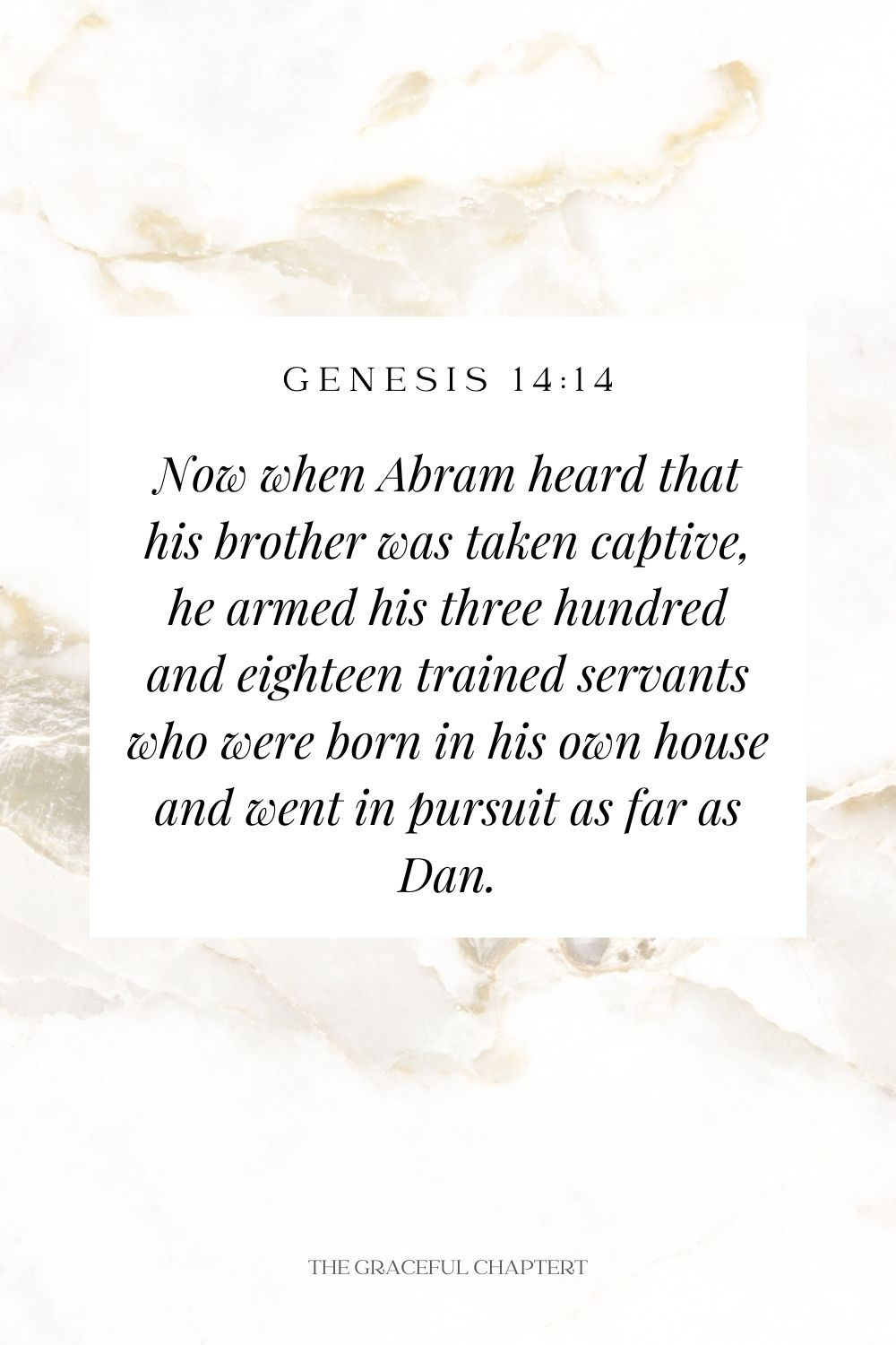 Now when Abram heard that his brother was taken captive, he armed his three hundred and eighteen trained servants who were born in his own house and went in pursuit as far as Dan. Genesis 14:14