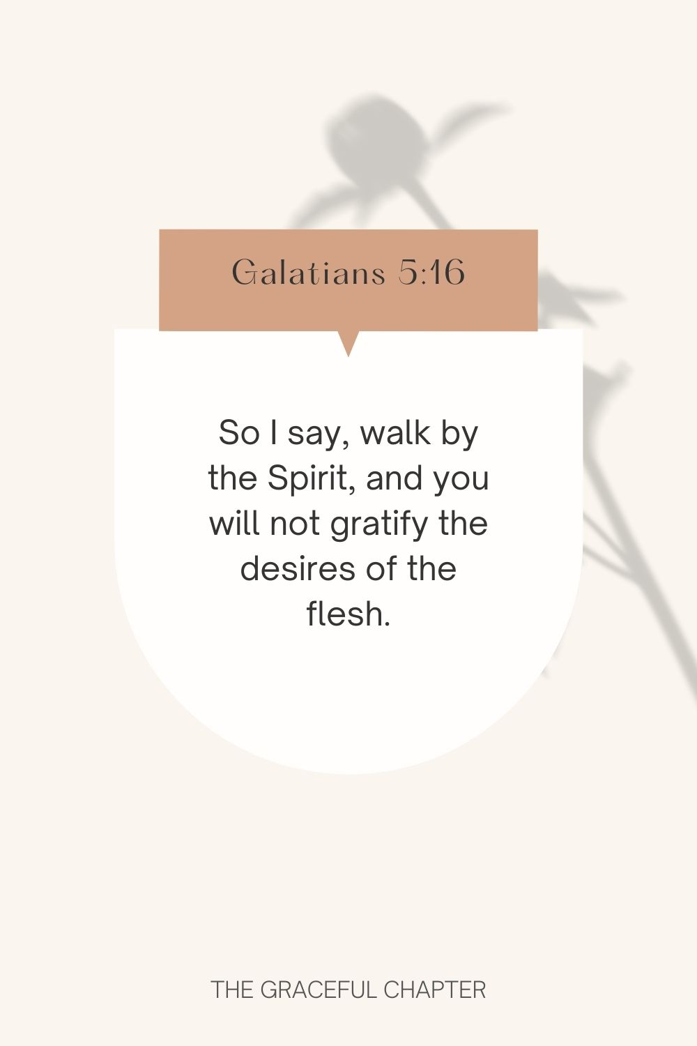So I say, walk by the Spirit, and you will not gratify the desires of the flesh. Galatians 5:16