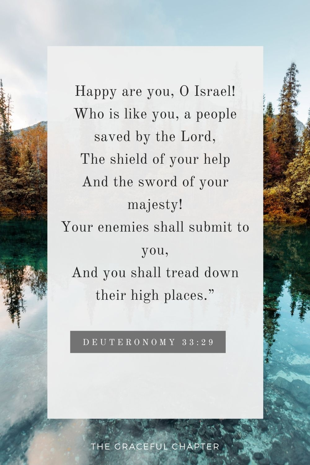"""Happy are you, O Israel! Who is like you, a people saved by the Lord, The shield of your help And the sword of your majesty! Your enemies shall submit to you, And you shall tread down their high places."""" Deuteronomy 33:29"""