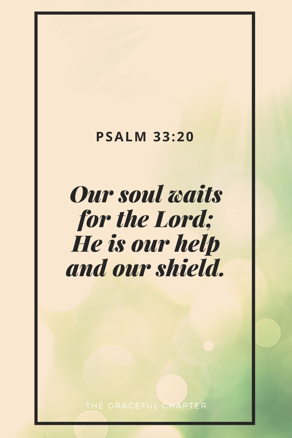 Our soul waits for the Lord; He is our help and our shield. Psalm 33:20