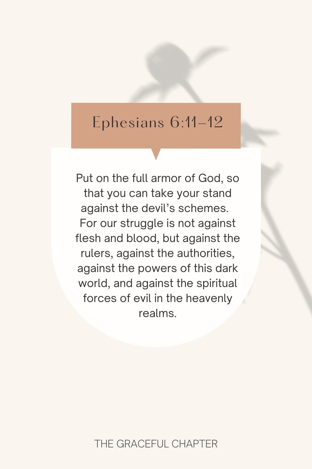 Put on the full armor of God, so that you can take your stand against the devil's schemes.  For our struggle is not against flesh and blood, but against the rulers, against the authorities, against the powers of this dark world, and against the spiritual forces of evil in the heavenly realms. Ephesians 6:11-12