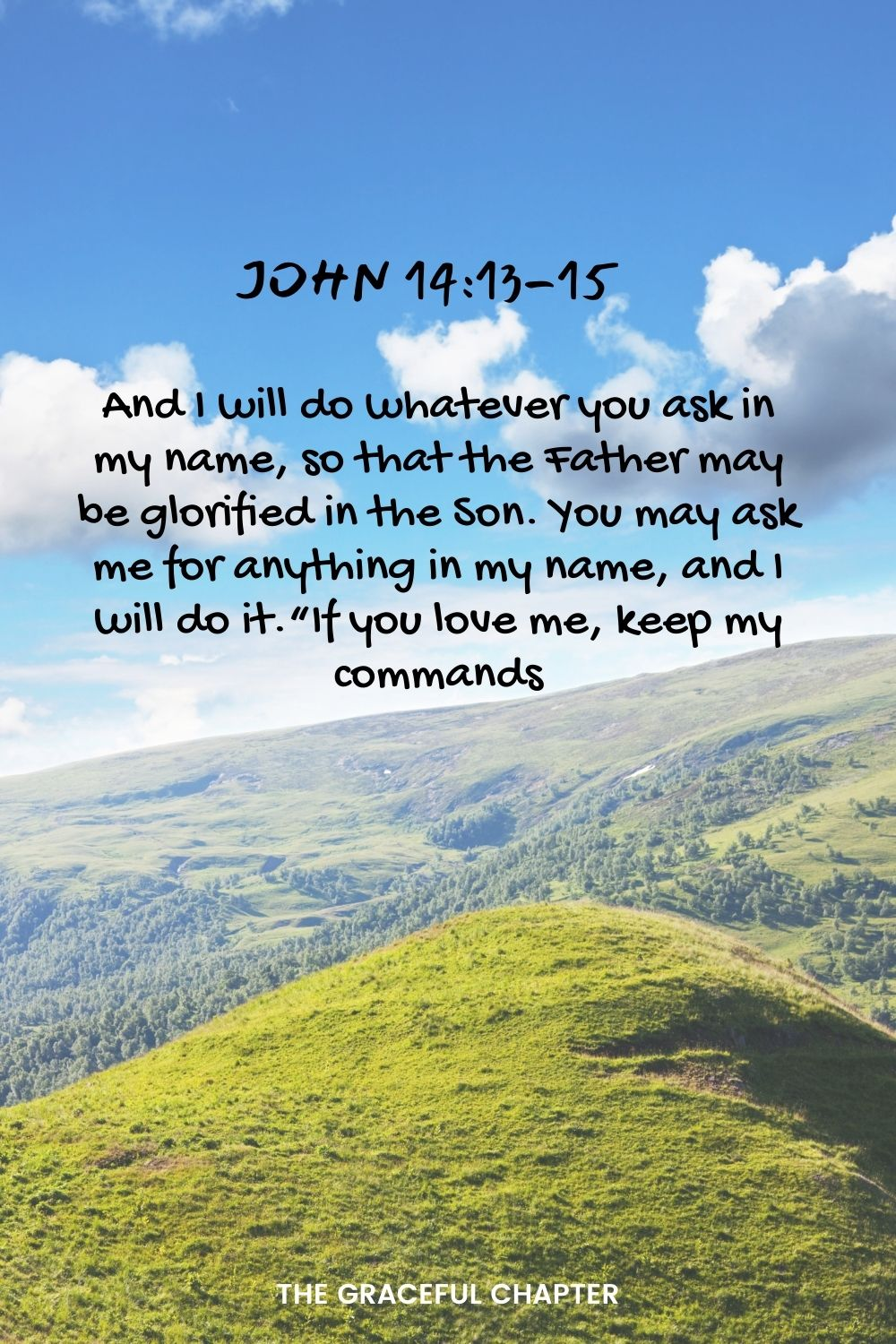 """And I will do whatever you ask in my name, so that the Father may be glorified in the Son. You may ask me for anything in my name, and I will do it.""""If you love me, keep my commands. John 14:13-15"""