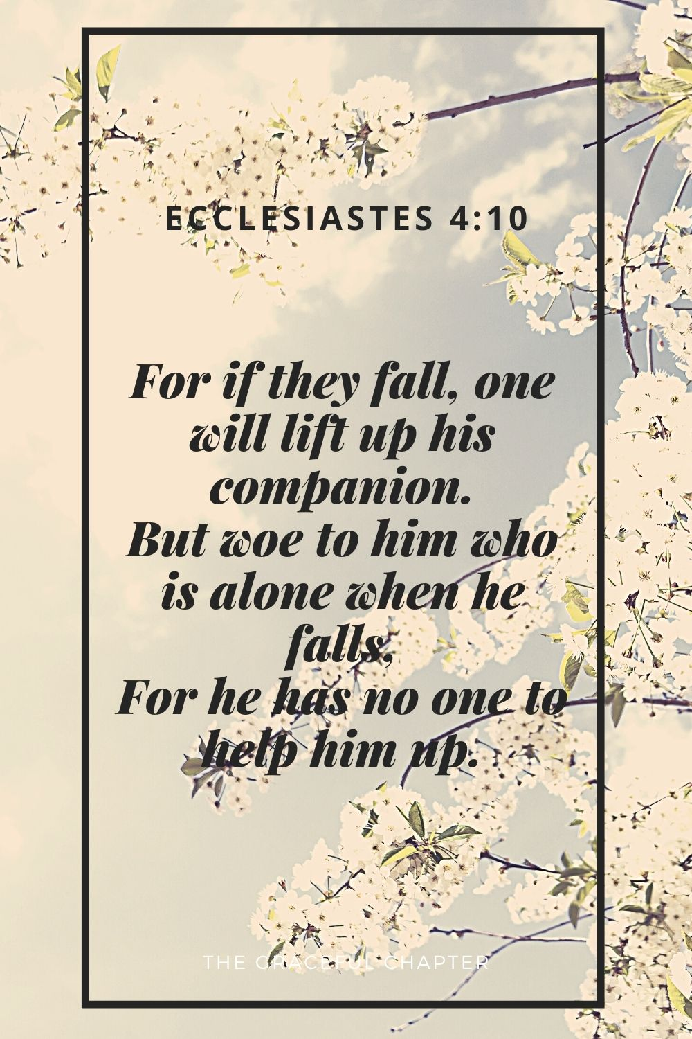 For if they fall, one will lift up his companion. But woe to him who is alone when he falls, For he has no one to help him up. Ecclesiastes 4:10