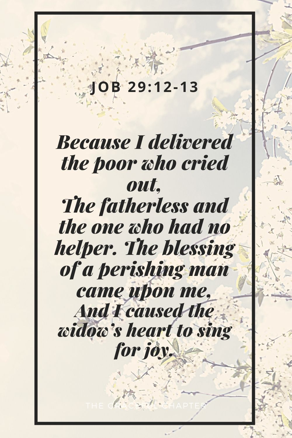 Because I delivered the poor who cried out, The fatherless and the one who had no helper. The blessing of a perishing man came upon me, And I caused the widow's heart to sing for joyBecause I delivered the poor who cried out, The fatherless and the one who had no helper. The blessing of a perishing man came upon me, And I caused the widow's heart to sing for joy. Job 29:12-13
