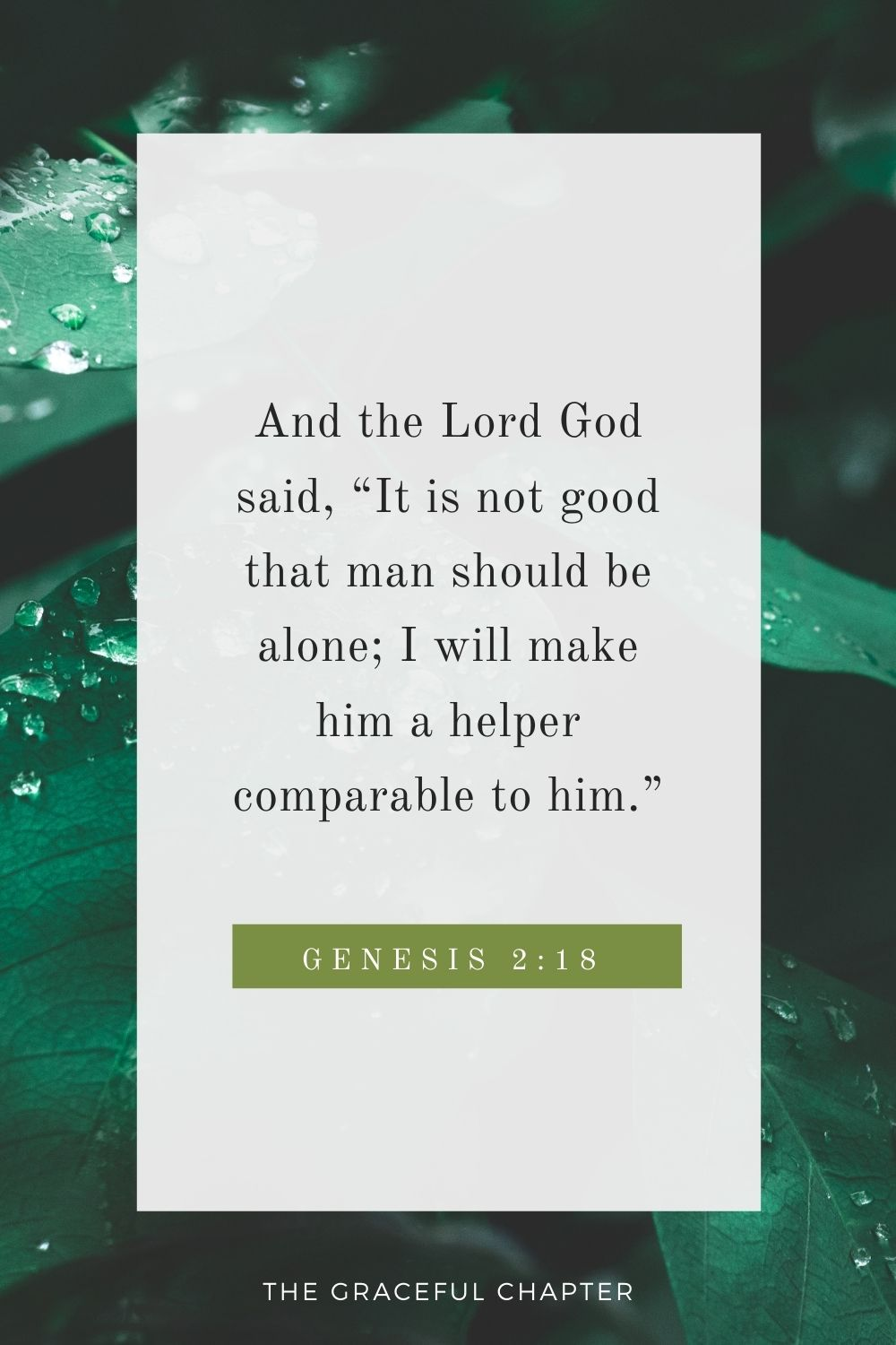 """And the Lord God said, """"It is not good that man should be alone; I will make him a helper comparable to him.""""And the Lord God said, """"It is not good that man should be alone; I will make him a helper comparable to him."""" Genesis 2:18"""