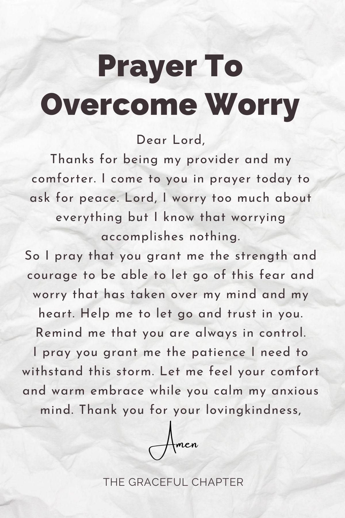 prayer to overcome worry
