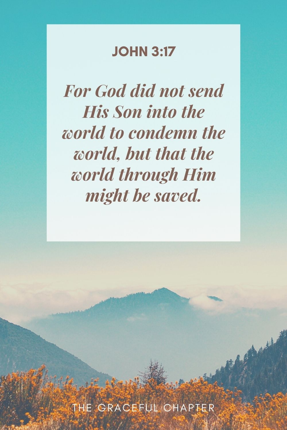 For God did not send His Son into the world to condemn the world, but that the world through Him might be saved. John 3:17