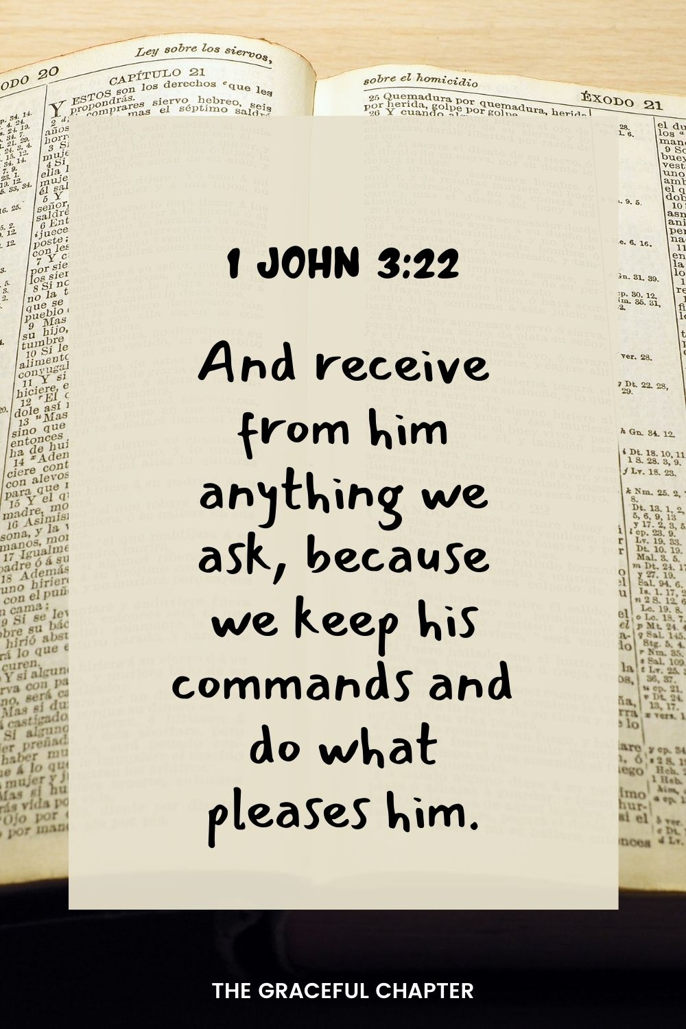 And receive from him anything we ask, because we keep his commands and do what pleases him. 1 John 3:22