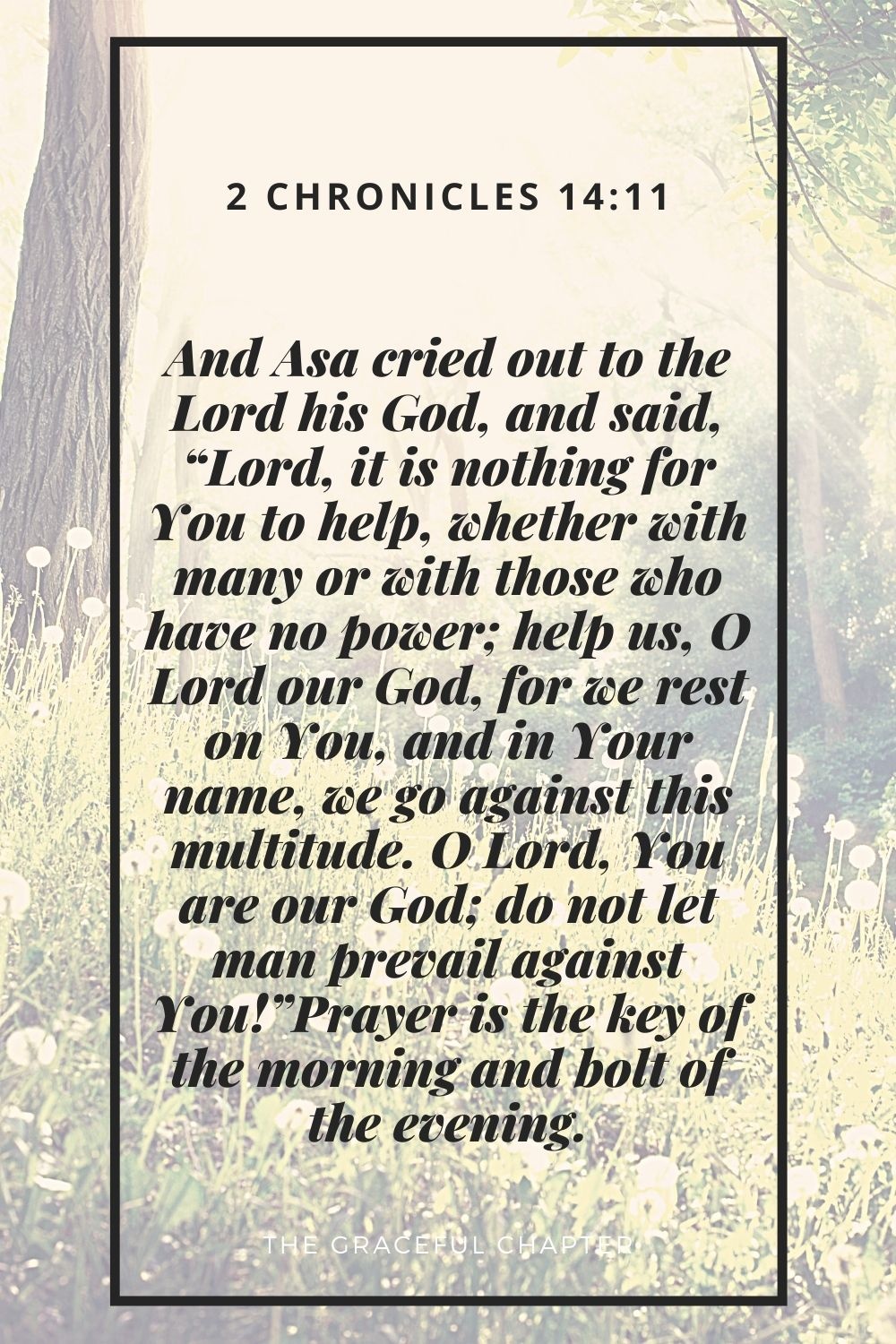 """And Asa cried out to the Lord his God, and said, """"Lord, it is nothing for You to help, whether with many or with those who have no power; help us, O Lord our God, for we rest on You, and in Your name, we go against this multitude. O Lord, You are our God; do not let man prevail against You!"""" 2 Chronicles 14:11"""