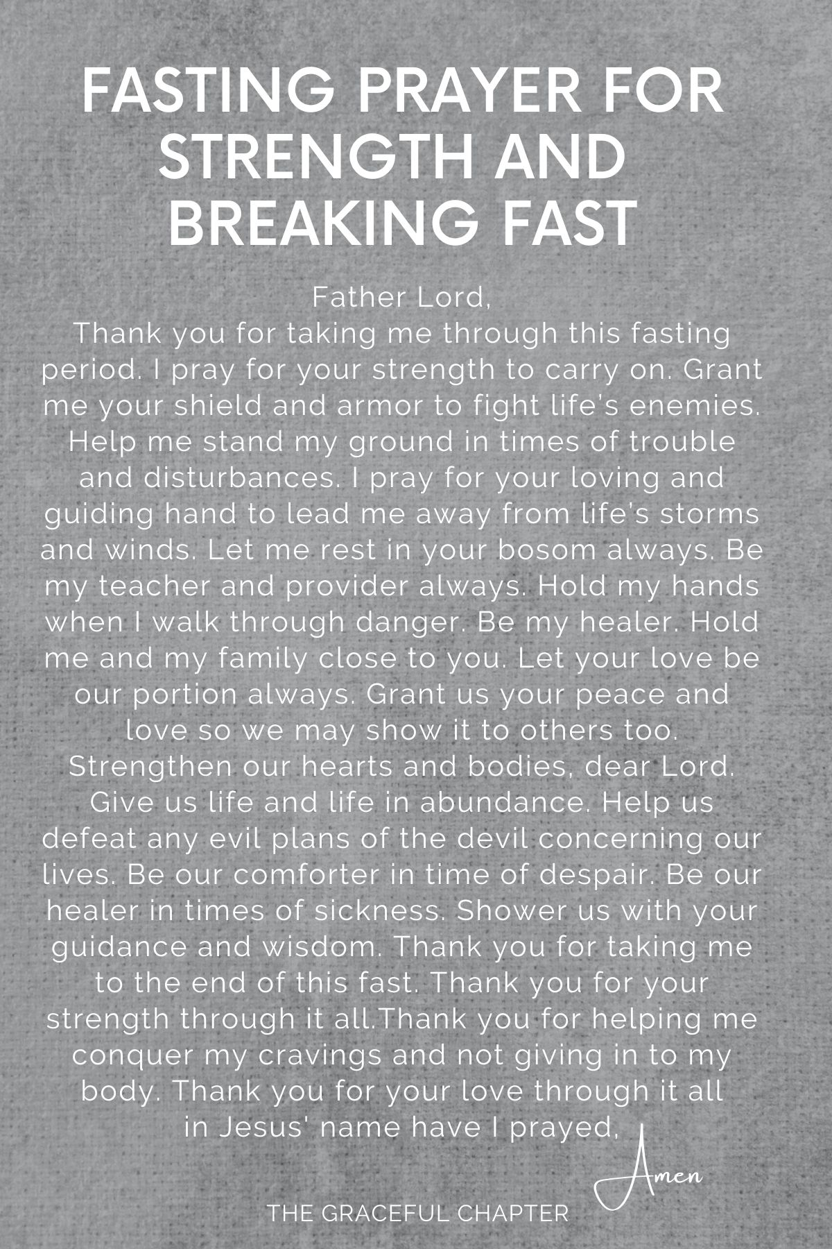 Fasting prayer for strength and breaking fast