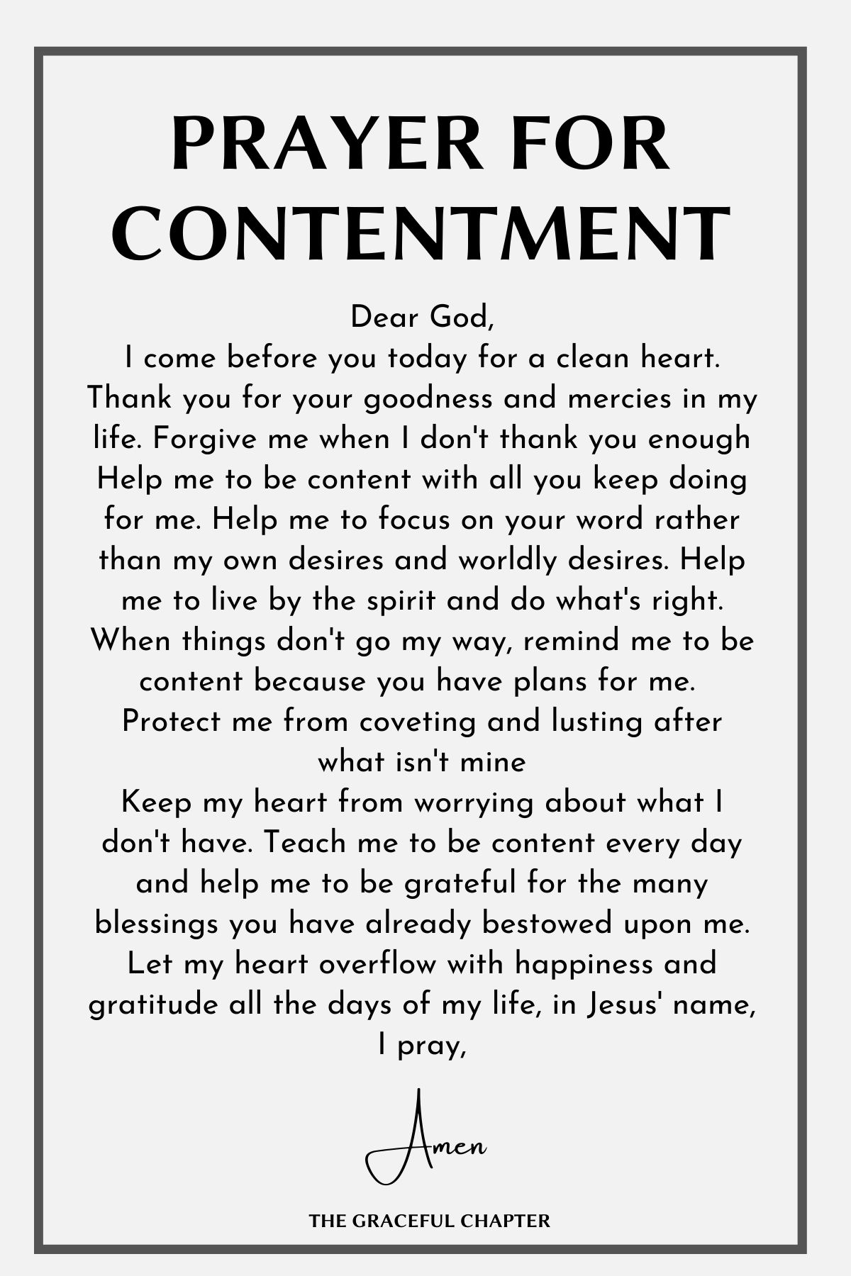Prayer for contentment - content prayer