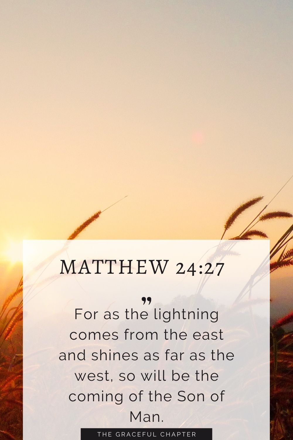 For as the lightning comes from the east and shines as far as the west, so will be the coming of the Son of Man. Matthew 24:27