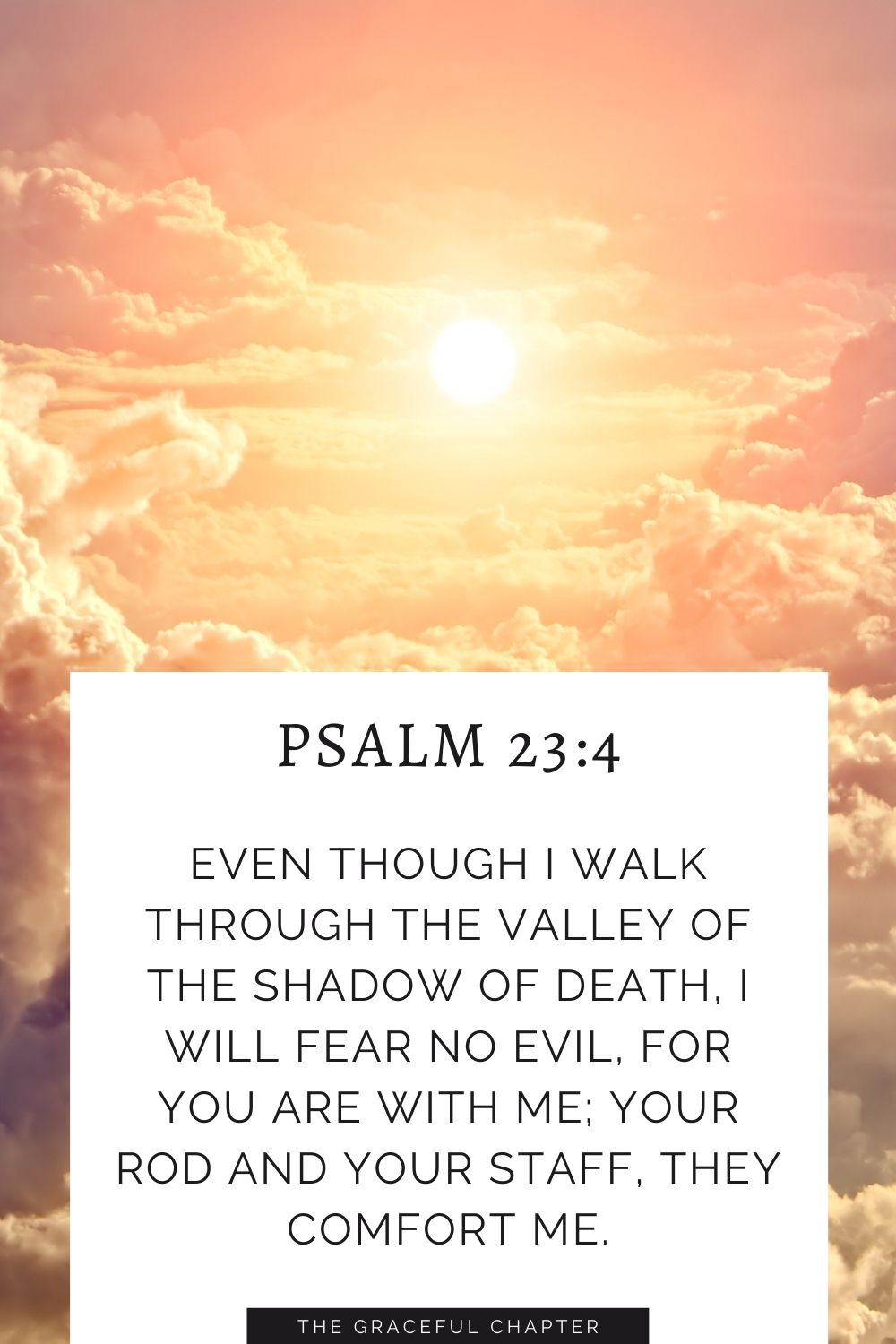 Even though I walk through the valley of the shadow of death, I will fear no evil, for you are with me; your rod and your staff, they comfort me. Psalm 23:4